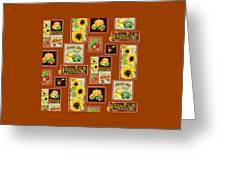 Harvest Market Pumpkins Sunflowers N Red Wagon Greeting Card