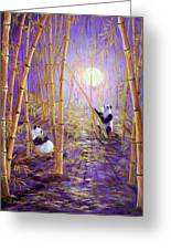 Harvest Moon Pandas  Greeting Card