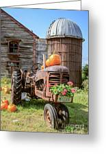 Harvest Time Vintage Farm With Pumpkins Greeting Card