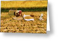 Harvesting Rice Fields Vietnamese Woman  Greeting Card