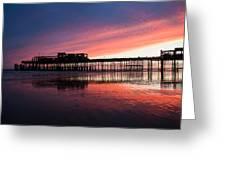 Hastings Pier - Purple Greeting Card