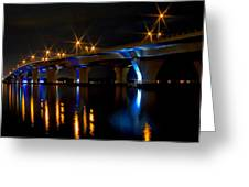 Hathaway Bridge At Night Greeting Card