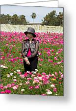 Hatted Lady In A Field Greeting Card