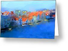 Haugesund Harbour Norway Greeting Card by Michael Greenaway
