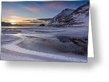 Haukland Sunset Greeting Card