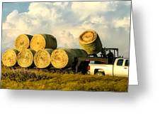 Hauling Hay Bales 2 Greeting Card