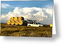 Hauling Hay Bales Greeting Card