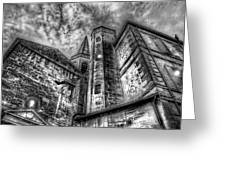 Haunted Church In Black And White Greeting Card