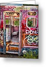 Haunted Graffiti Art Bus Greeting Card