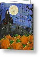 Haunted Night Greeting Card by Sylvia Pimental