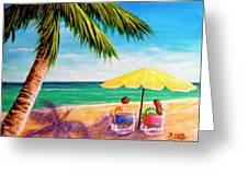 Hawaii Beach Yellow Umbrella #470 Greeting Card