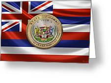 Hawaii Great Seal Over State Flag Greeting Card