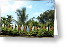 Hawaii Surfboard Fence Greeting Card by Michael Ledray
