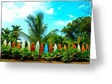 Hawaii Surfboard Fence Photograph  Greeting Card by Michael Ledray
