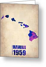 Hawaii Watercolor Map Greeting Card by Naxart Studio