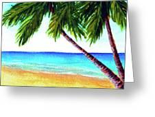 Hawaiian Beach Palm Trees  #425 Greeting Card