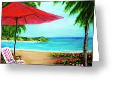 Hawaiian Beach Wave Art Print Painting #441 Greeting Card