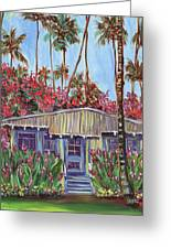 Hawaiian Cottage With Pink And Red Tropical Flowers Greeting Card
