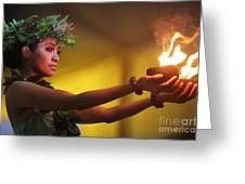 Hawaiian Dancer And Firepots Greeting Card
