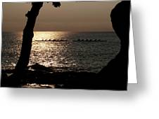 Hawaiian Dugout Canoe Race At Sunset Greeting Card