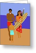 Hawaiian Family Beach Scene Greeting Card
