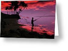 Hawaiian Fishing On Halama Beach At Sunset Greeting Card