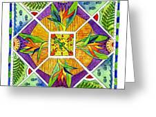 Hawaiian Mandala II - Bird Of Paradise Greeting Card