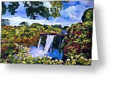 Hawaiian Paradise Falls Greeting Card by David Lloyd Glover