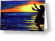 Hawaiian Sunset With Hula Dance  #183, Greeting Card