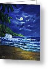 Hawaiian Tropical Ocean Moonscape Seascape #377 Greeting Card