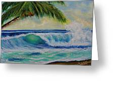 Hawaiian Tropical Wave Art Print Painting #424 Greeting Card