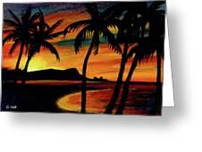 Hawaiian Waikiki Sunrise Over Diamond Head  #266 Greeting Card