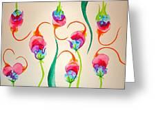 Hawaiian Warrior Upside-down Flowers Greeting Card