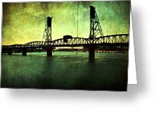 Hawthorne Bridge Greeting Card by Cathie Tyler