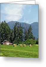 Hay Bales And A Barn - Kalispell Montana Greeting Card