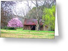Hay Barn And A Touch Of Pink Greeting Card