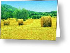 Hay Harvest In Tuscany Greeting Card