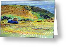 Hay Harvest On The Coast Greeting Card
