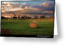 Haybales At Dusk Greeting Card by Melinda Swinford
