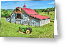 Hayesville Barn And Tractor Greeting Card