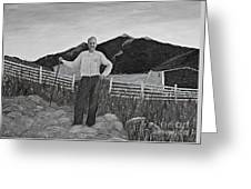 Haymaker With Pitchfork B W Greeting Card