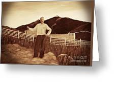 Haymaker With Pitchfork Vintage Greeting Card