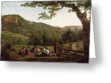 Haymakers Picnicking In A Field Greeting Card by Jean Louis De Marne