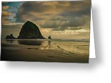 Haystack Sunset Panorama Greeting Card