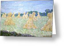Haystacks The Young Ladies Of Giverny Sun Effect Greeting Card