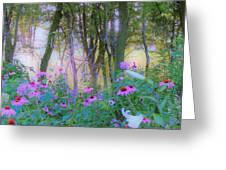 Hazy Garden Sunrise Greeting Card