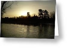 Hazy Mississippi River Sunrise Greeting Card