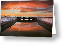 Hdr Sunset Over Harbor And Graffiti Greeting Card