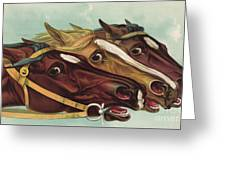 Head And Head At The Winning Post Greeting Card