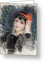 Head Of A Young Woman - 1878 -1880 Pierre-auguste Renoir Greeting Card